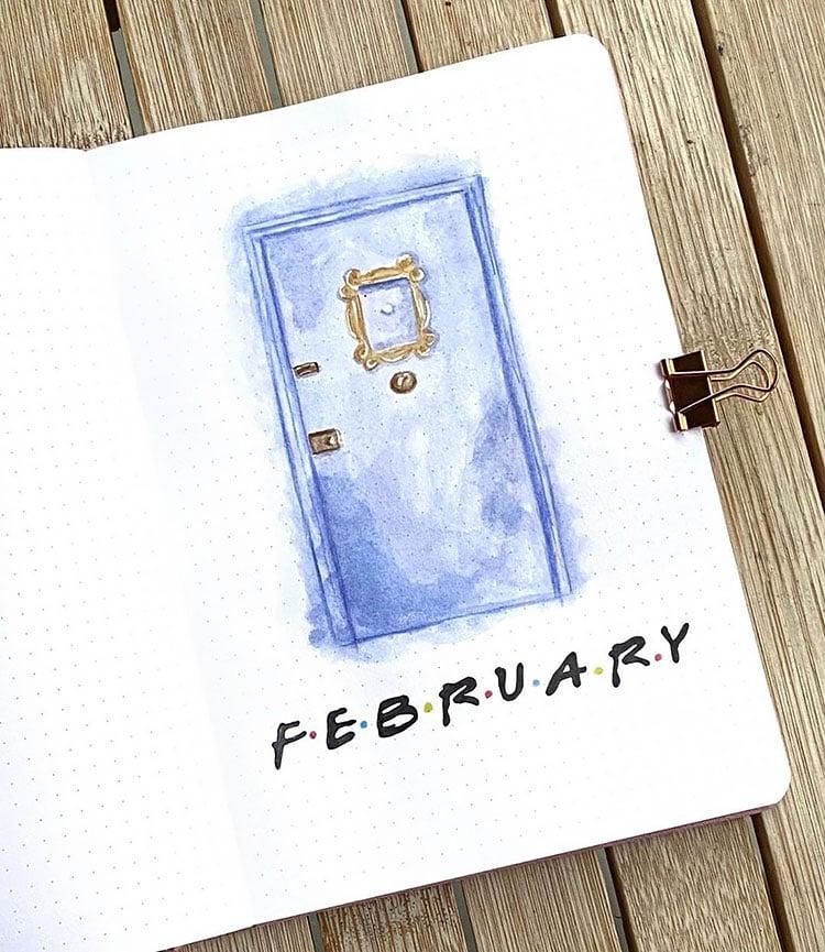 FEBRUARY BULLET JOURNAL COVERS FRIENDS TV SHOW DESIGN