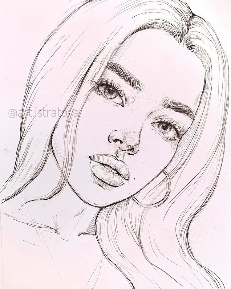 girl with straight hair drawing