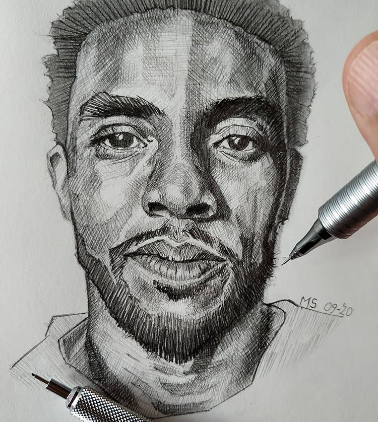 chadwick boseman pencil art drawing
