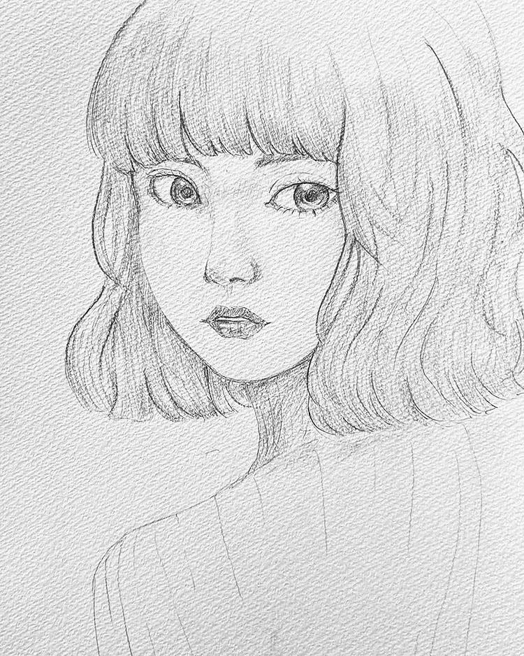 easy girl sketch