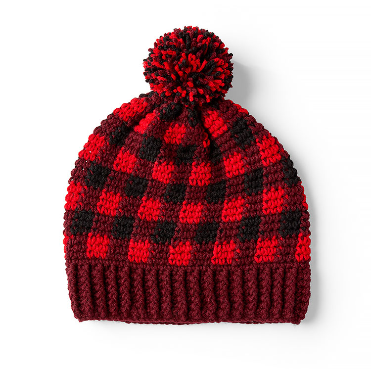 RED HEART BUFFALO PLAID HAT FOR HIM