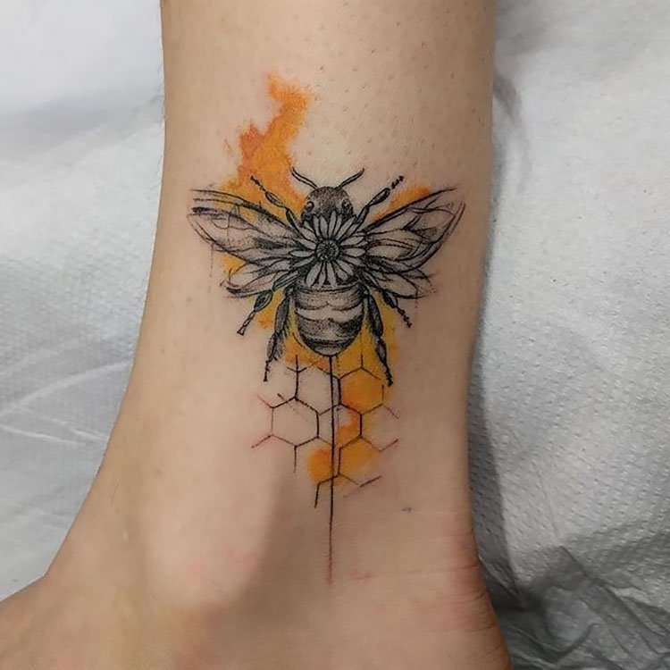 bee with watercolor honeycomb
