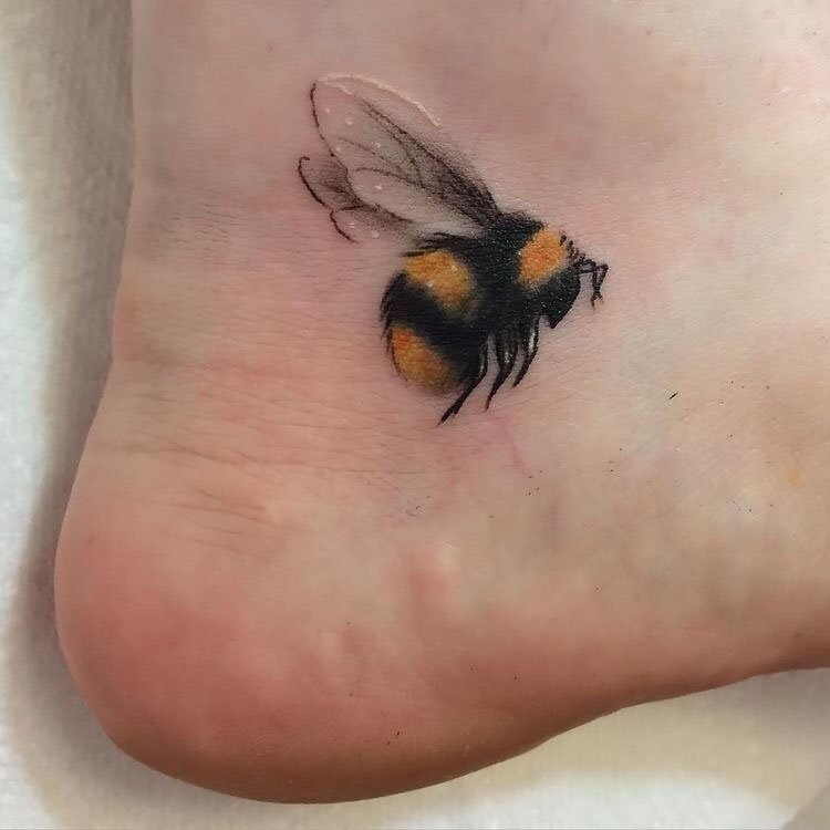 bee on ankle