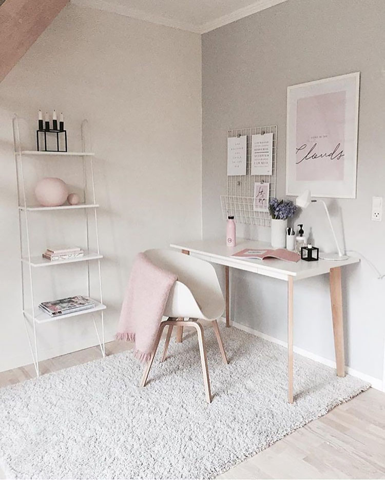 simple pink and white office
