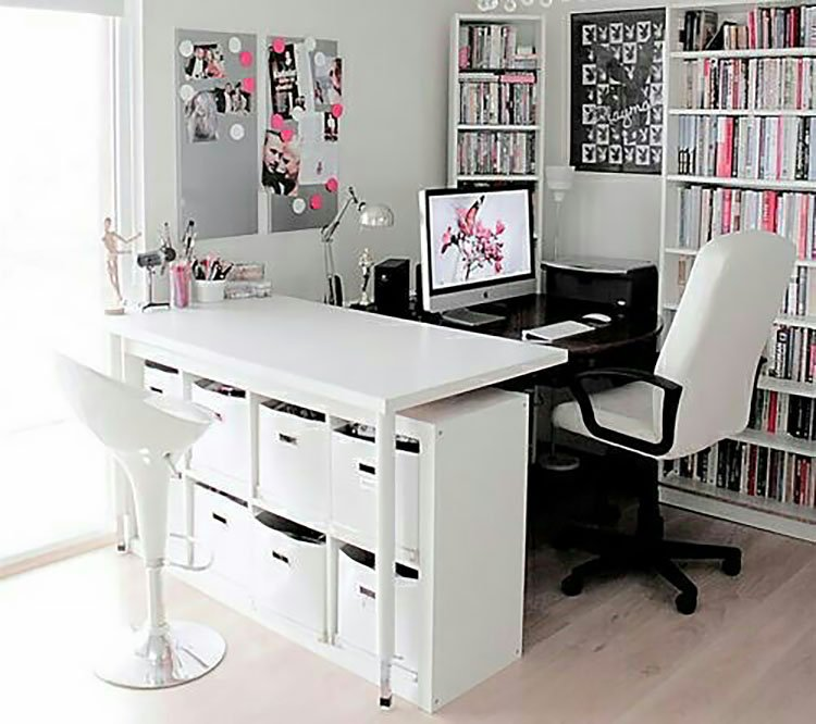 office with white desk and bookshelf