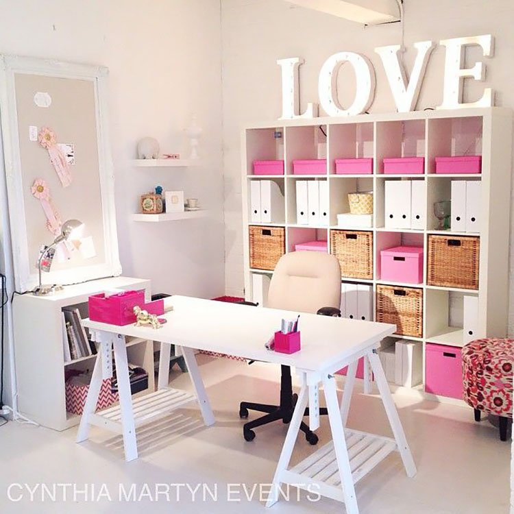 white desk with love letters on shelf