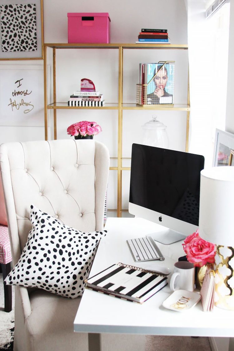 office with gold shelf