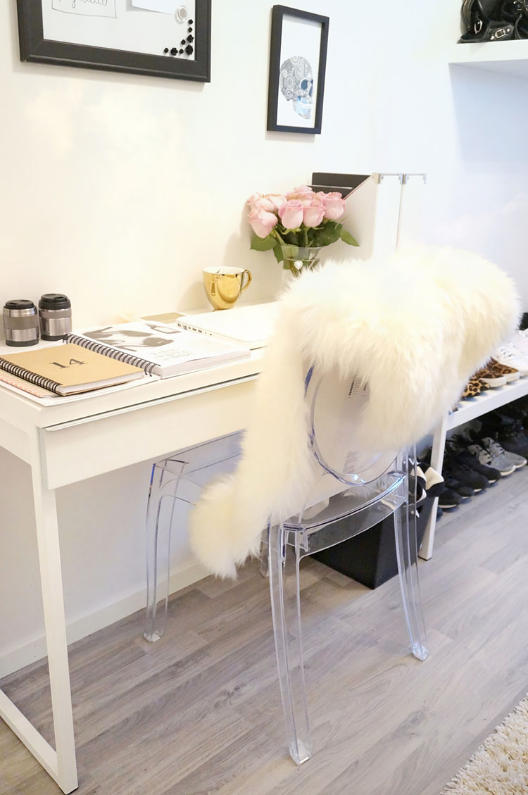 small white desk with chair