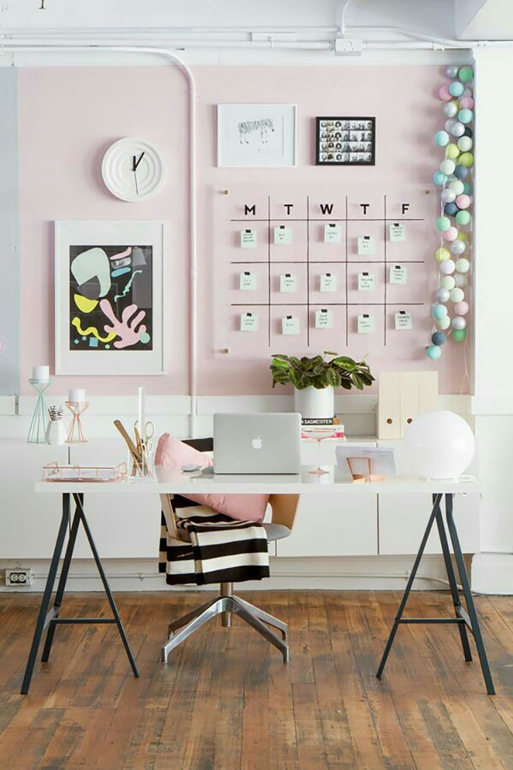 office with pink walls