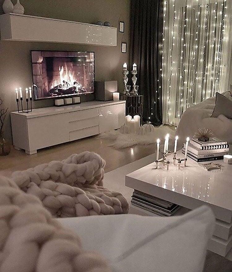 white holiday living room decor