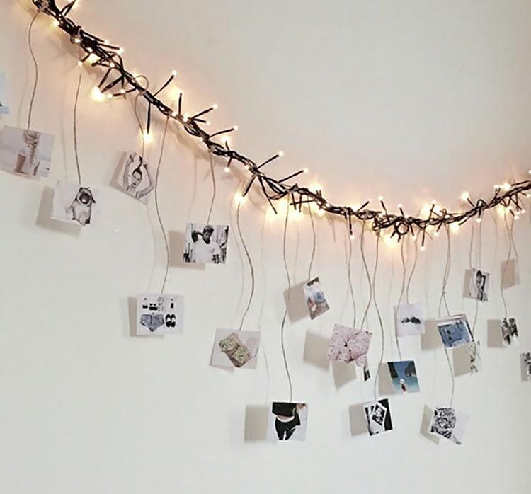 string lights wall hanging