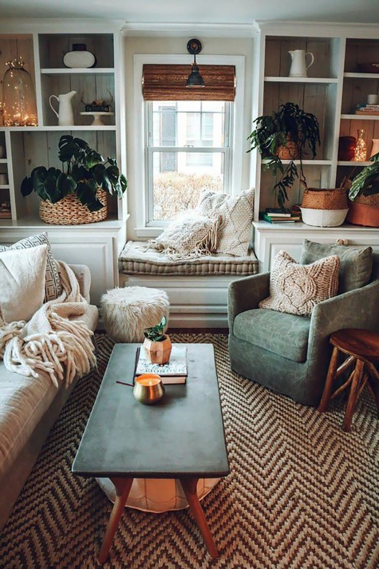 cozy living room with plants