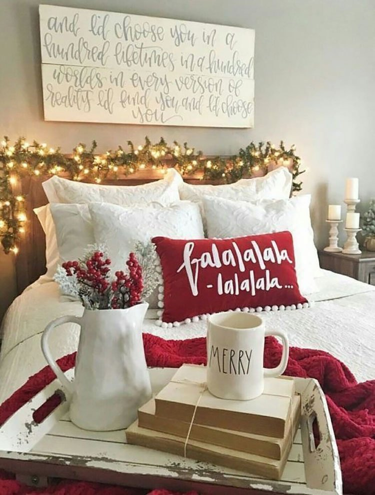 festive bed with pillow