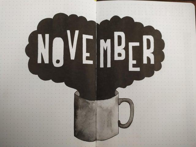 NOVEMBER WITH COFFEE MUG BLACK AND WHITE