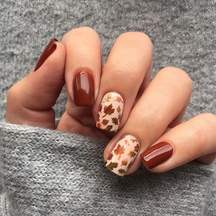 nails with fall colors and leaves