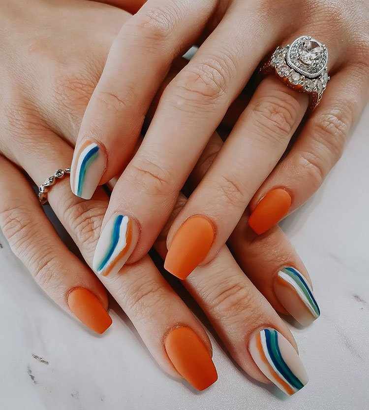 orange and blue nails