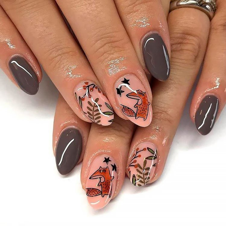 fox and leaves nails