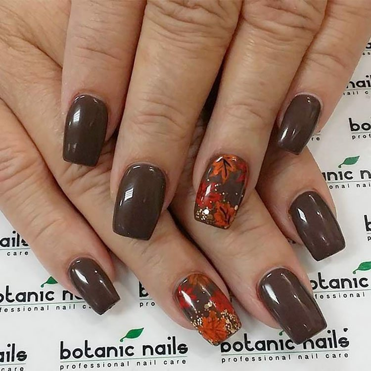brown nails with leaves