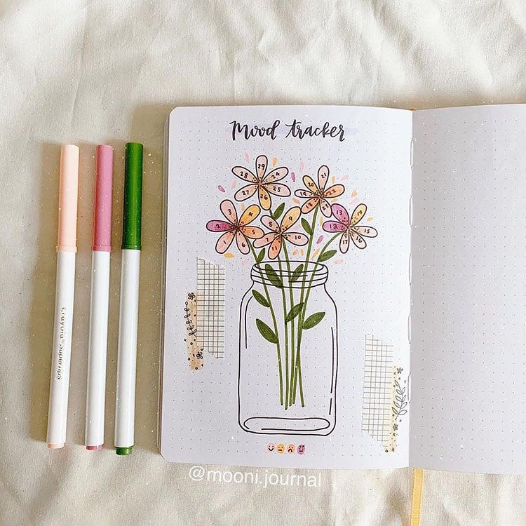 FLOWERS IN A JAR mood tracker