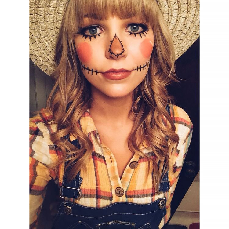 scarecrow makeup on woman