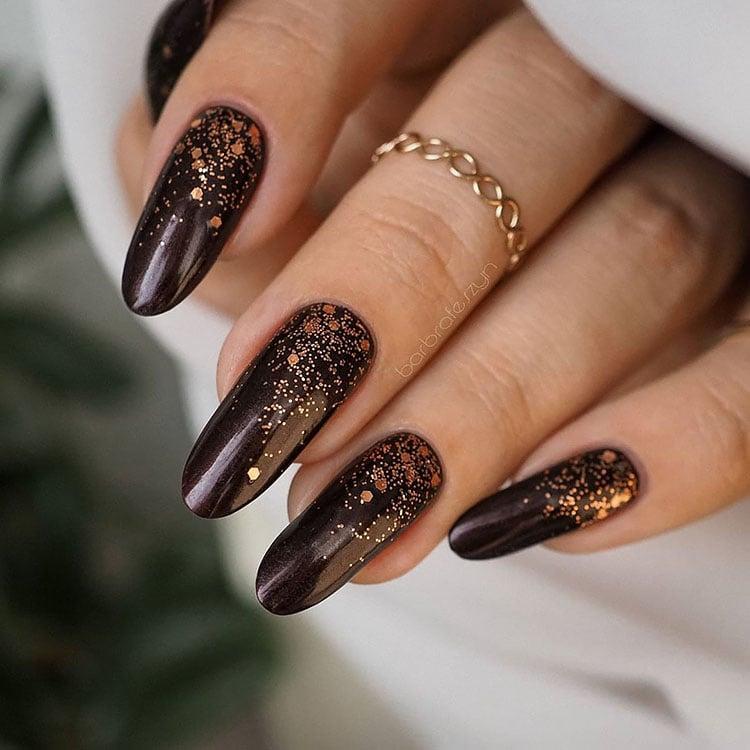 brown nails with gold flecks fall nail design ideas