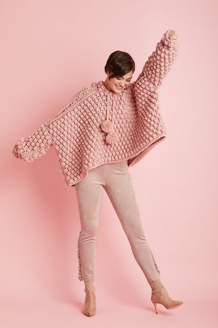 PINK POPOVER SWEATER
