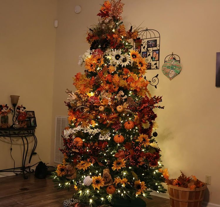 tree filled with leaf garland