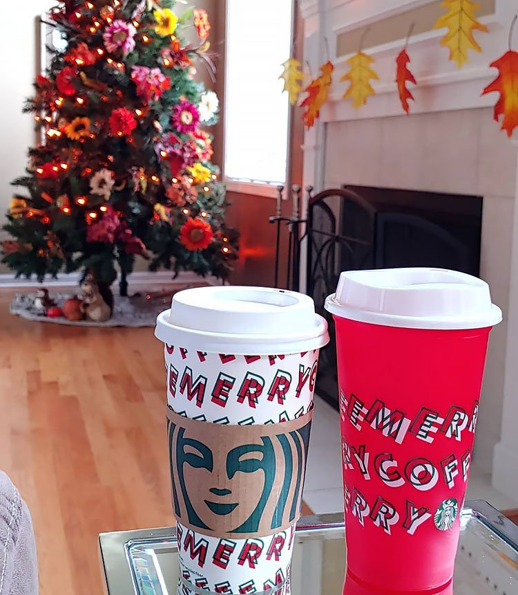 thanksgiving tree with starbucks cups