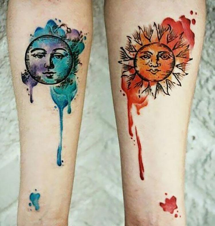 sun and moon tattoo on leg