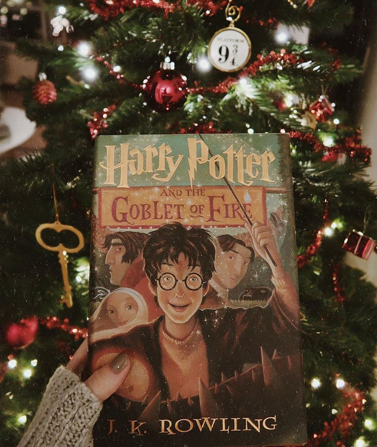 WOMAN HOLDING HARRY POTTER BOOK