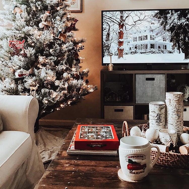 CHRISTMAS TREE NEAR TV
