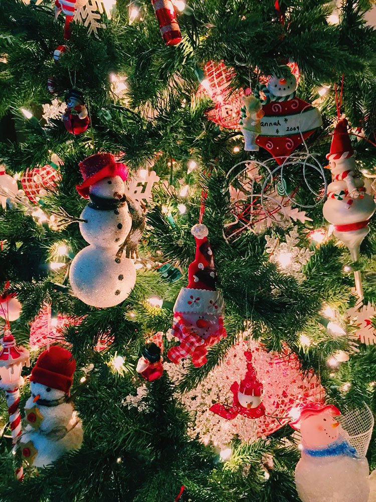 ORNAMENTS HANGING FROM CHRISTMAS TREE