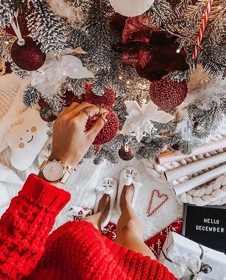 WOMAN HOLDING CHRISTMAS TREE ORNAMENT