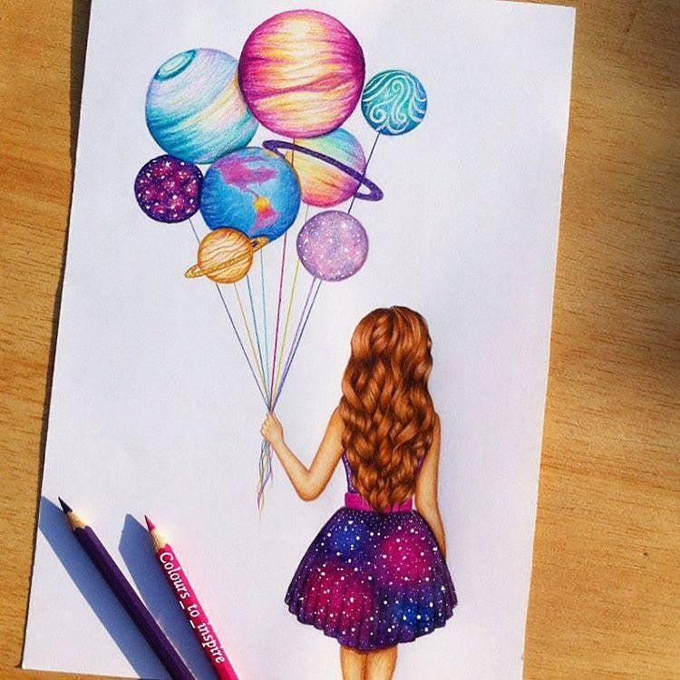 GIRL HOLDING PLANET BALLOONS