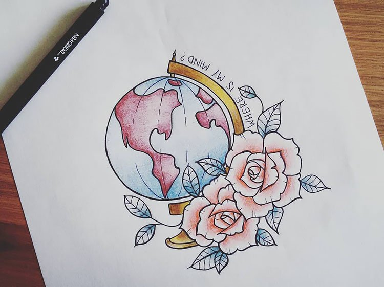 GLOBE AND FLOWERS