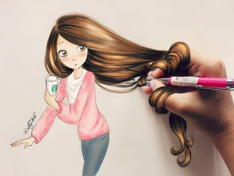 LONG HAIR AND STARBUCKS CUP