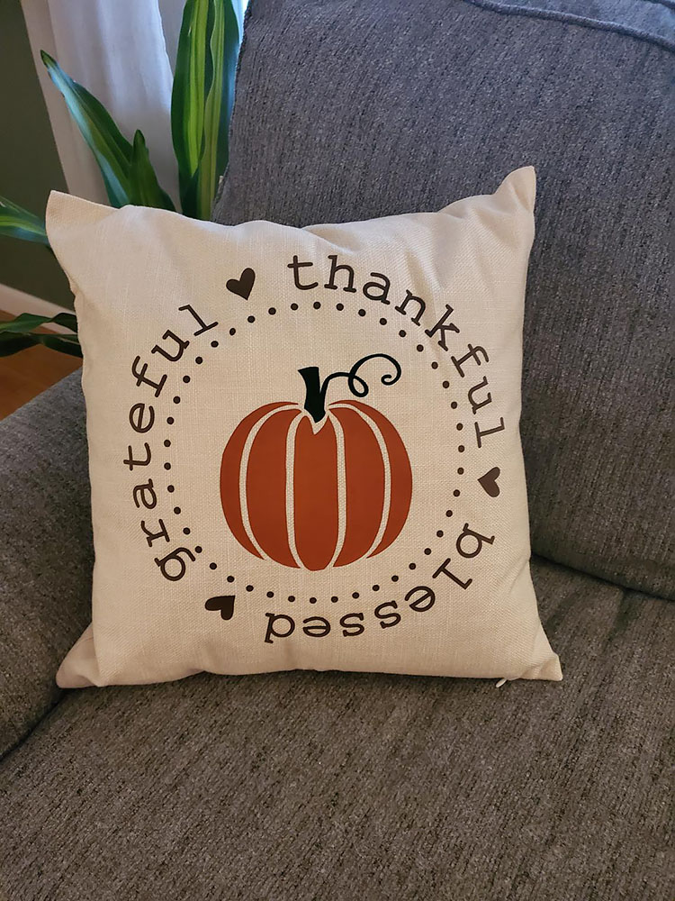 THANKFUL BLESSED GRATEFUL PILLOW