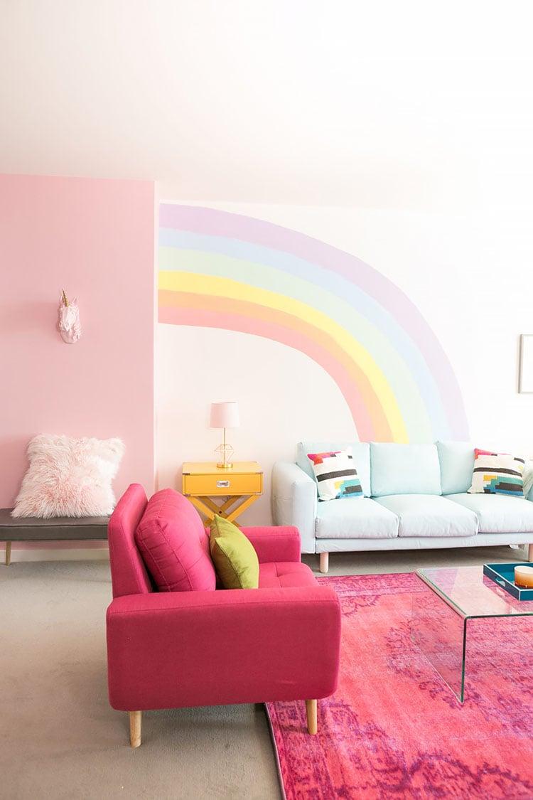 DIY RAINBOW MURAL WALL