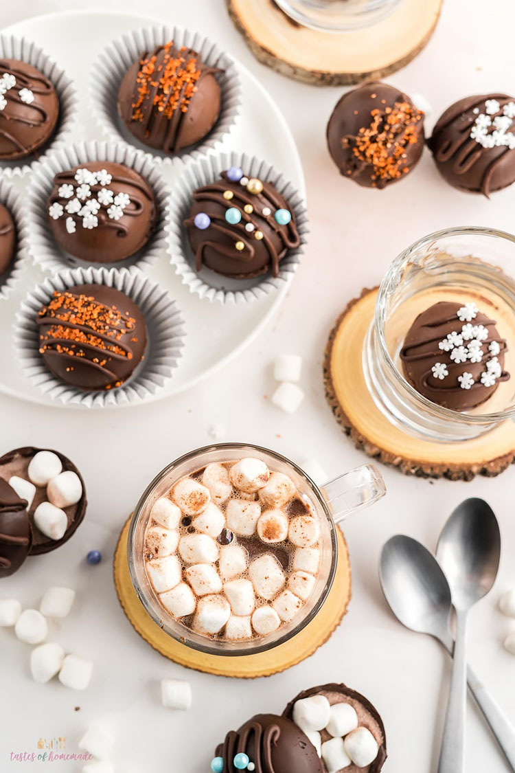 HOT CHOCOLATE BOMBS WITH TOPPINGS