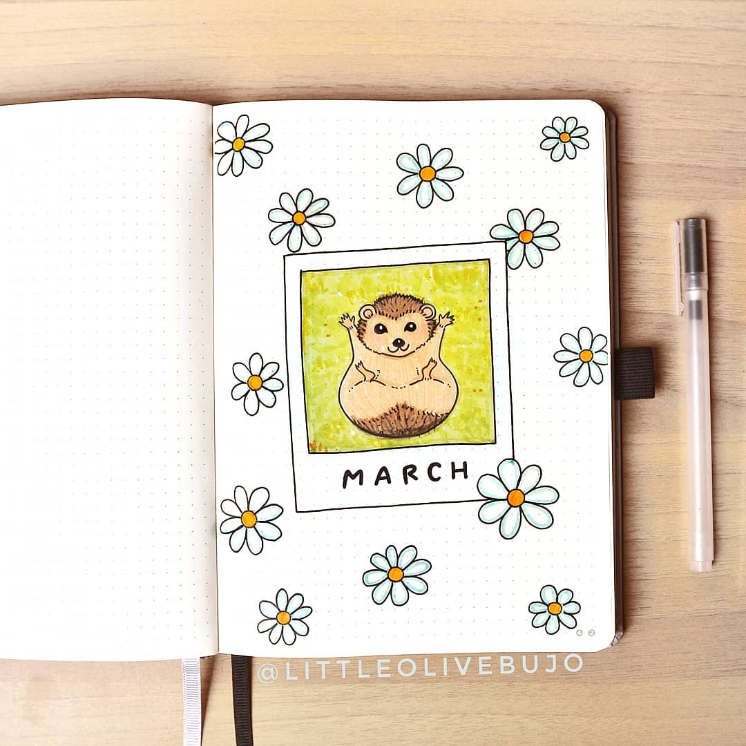 HEDGEHOG AND DAISIES march bullet journal cover