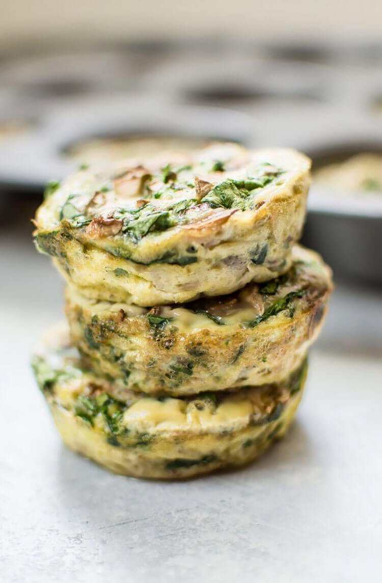 Spinach and Mushroom Healthy Breakfast Egg Muffins