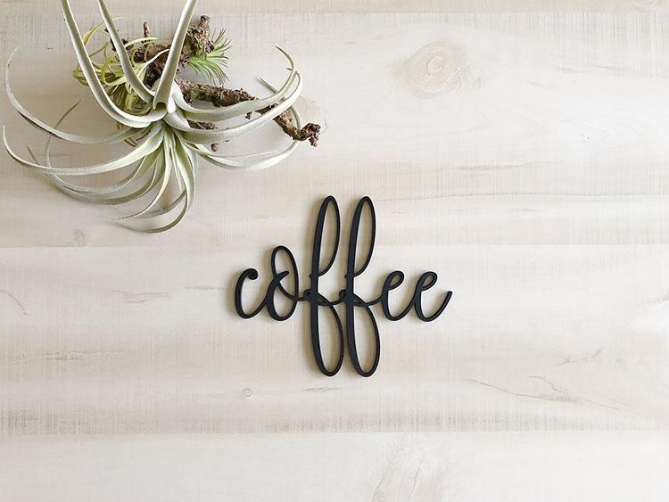 COFFEE WOOD WORD SIGN coffee bar