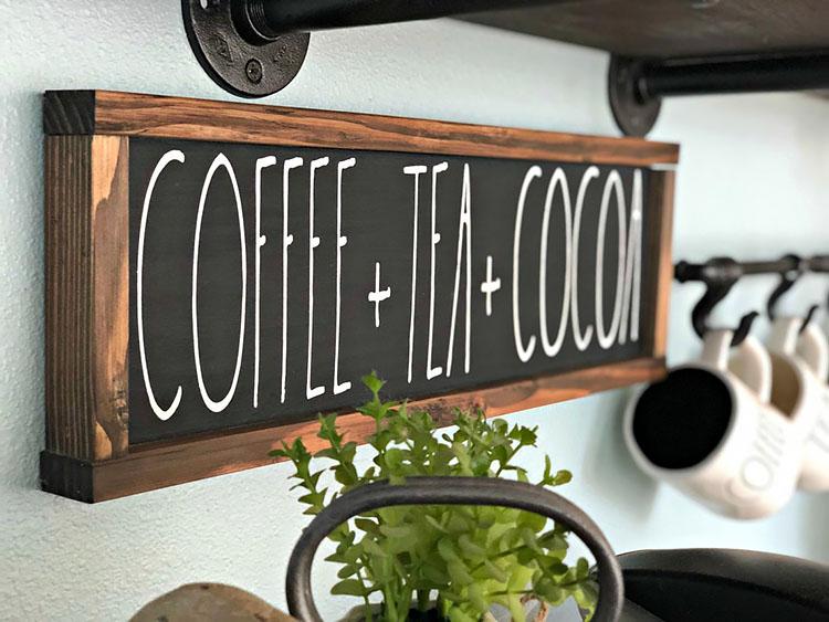 COFFEE TEA AND COCOA SIGN coffee bar