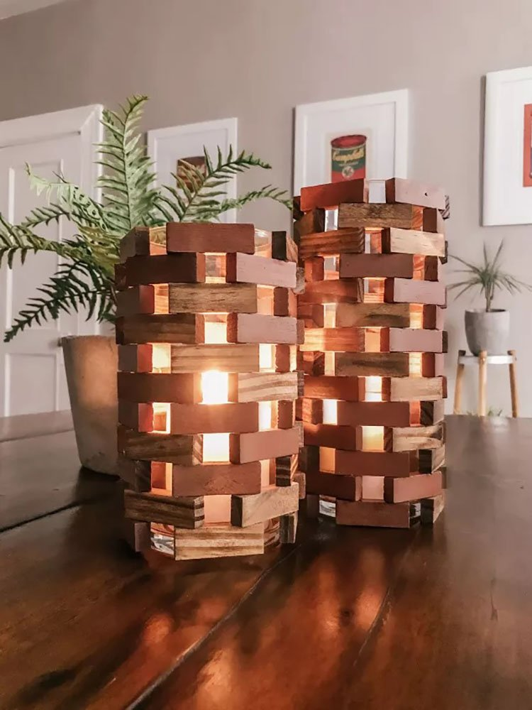 DOLLAR TREE WOOD BLOCK LANTERNS