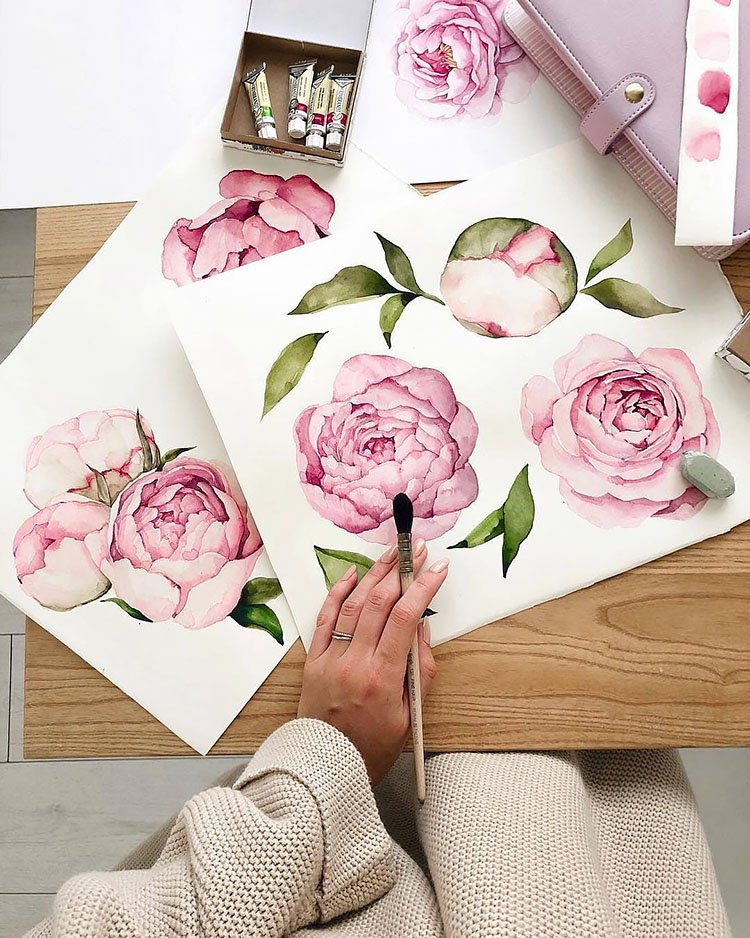 large watercolor flower painting