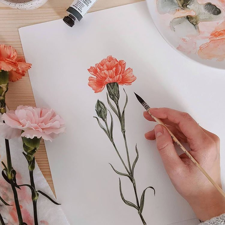tall flower painting
