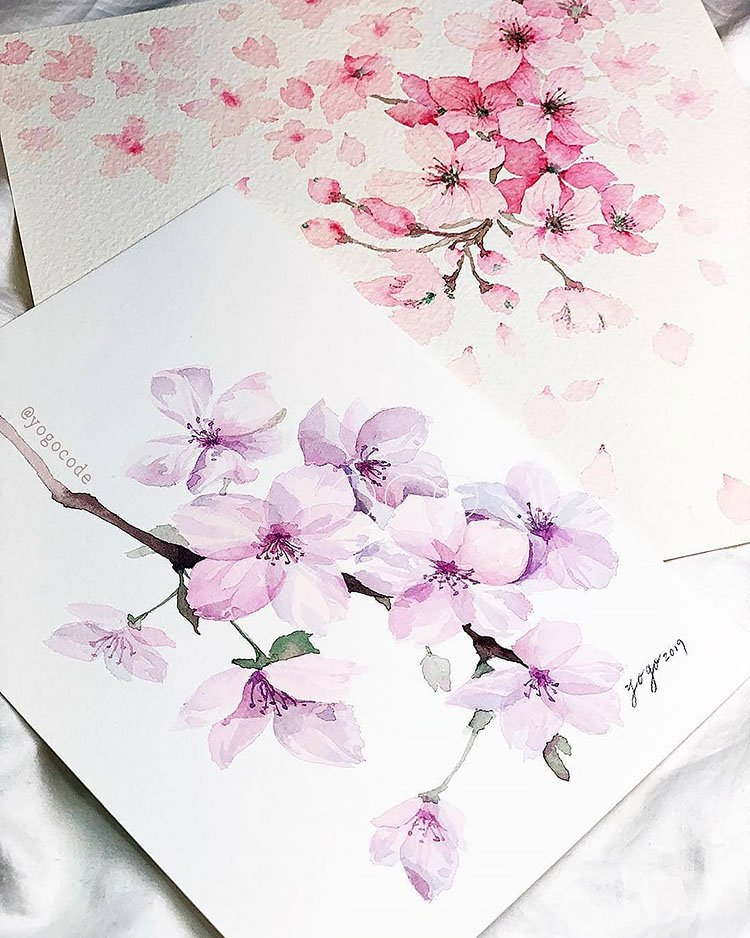 purple and pink watercolor flower paintings with branches