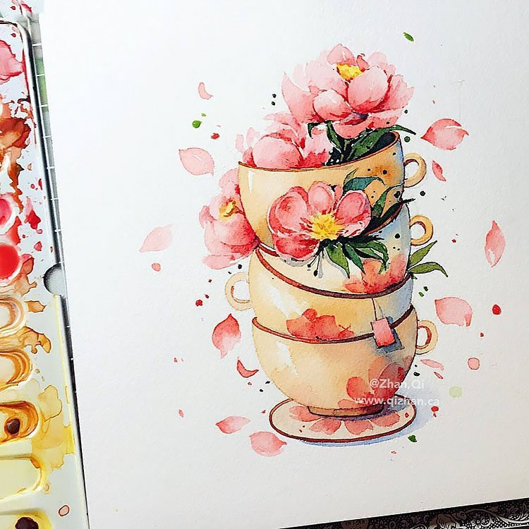 watercolor flowers and tea cups
