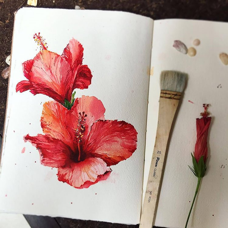 watercolor red flower