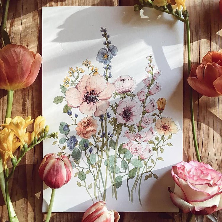 vintage style flower painting